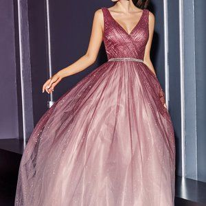 Ombre Sleeveless V-Neck Long Prom Dress CDCB053